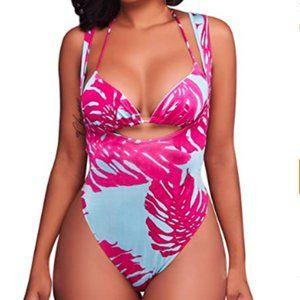 Women's 2 Pieces High Cut Thong Bikini Set
